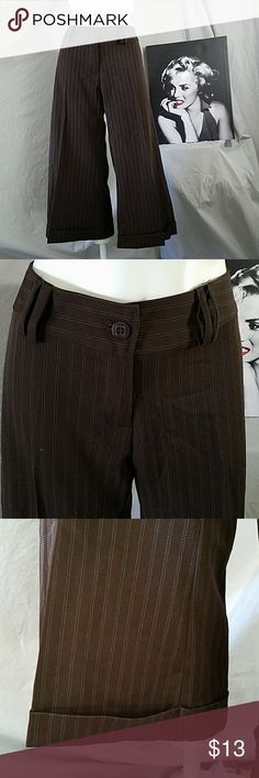 Brown w/Blue pinstripe wide leg cropped pants 32-34 Waist 30 length  21 inseam  Tag says size 11, please check your measurements  Some nicks of blue threads, see photos andreana Pants Wide Leg