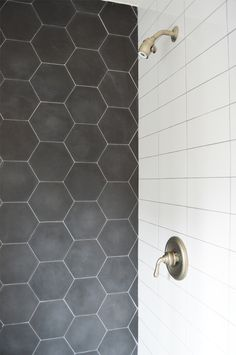 Black and White bathrooms never get out of style! Check out this shower featuring our Barcela Cement Collection. - Black and White bathrooms never get out of style! Check out this shower featuring our Barcela Cement Collection. Upstairs Bathrooms, Grey Bathrooms, Modern Bathroom, Kitchen Modern, Black Hexagon Tile, Hexagon Tiles, Hexagon Tile Bathroom Floor, Honeycomb Tile, Grey Bathroom Floor