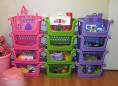 Relatively Cheap Toy Storage Made From 3 Tiered Shelf And Plastic