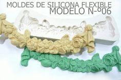 molde de silicona flexible modelo 06 feston de flores