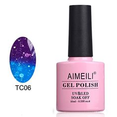 AIMEILI Soak Off UV LED Temperature Color Changing Chameleon Gel Nail Polish  Glitter Purple to Glitter Blue Full Shimmer Diamond TC06 10ml * Read more reviews of the product by visiting the link on the image.Note:It is affiliate link to Amazon.