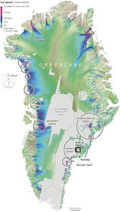 Ice speed in Greenland, along with # of earthquakes caused by iceberg calving.