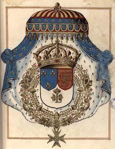 «Recueil des armoiries… des douze pairs de France… et des ducs modernes, pairs et non pairs…», par M. de Valles, Paris, 1633 [BM de Moulins, Ms 5 - http://mediatheques.agglo-moulins.fr/agglo-moulins.fr/bib-numerique/notice/ido/D09030145] -- f°36r : «Armoiries de Treshault Tresvictorieux, Trespuissant et Tresmagnanime Prince Louis 13e du nom dit le Juste, par la grace de Dieu Treschrestien et Invincible Roy de France et de Navarre a present regnant.»