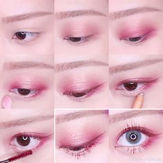 Skin Care Tips For Beautiful Skin Uzzlang Makeup, Red Eyeshadow Makeup, Kawaii Makeup, Makeup For Green Eyes, Makeup Inspo, Makeup Tips, Beauty Makeup, Makeup Looks, Red Eyeliner