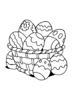 Des œufs placés dans un panier, à colorier pour la fête de pâques