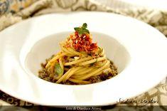 Bucatini con polpa di melanzane e pesto di pomodori secchi e mandorle – SICILIANI CREATIVI IN CUCINA