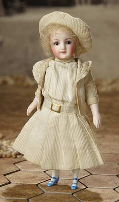"""Fascination"" - Sunday, January 8, 2017: 279 German All-Bisque Miniature Doll with Original Pique Costume"