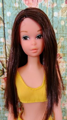 """Francie Fairchild is Barbie's younger cousin introduced in Some believe that the Francie doll may have been based on the character """"Gidget,"""" whose real name was Frances Lawrence (sometimes called Francie. Quick Curls, Curled Ponytail, Yellow Two Piece, Waist Length Hair, Dawn Dolls, Malibu Barbie, Clear Plastic Bags, African American Dolls, Vintage Barbie Dolls"""