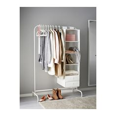 IKEA - MULIG, Clothes rack, white, Can be used anywhere in your home, even in damp areas like the bathroom and under covered balconies. The plastic feet protect the surface against scratching. Bathroom Closet, Closet Bedroom, Diy Clothes Rack Wood, Diy Clothes Rack Cheap, Clothes Racks, Ikea Bedroom, Bedroom Decor, Bedroom Small, Bath