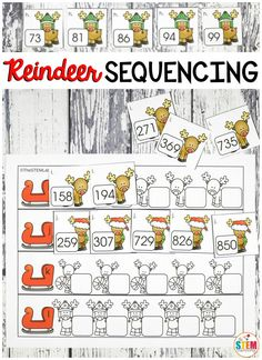 Help! The reindeer are getting ready to take Santa's sleigh but they need to be in the correct order first.This fun Christmas printable is great for kids learning to sequence numbers. It comes in single digit, double digit, and triple digit numbers making it so easy to differentiate. With so many options, it's the perfect holiday math center for preschool, kindergarten, first or second grade! #christmasfreebies #holidayfreebies #christmasmathcenters #christmascenters #reindeeractivities #numbers