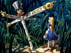 Alice in Wonderland  by David Hall -  print frame and use as deco. at a Alice party