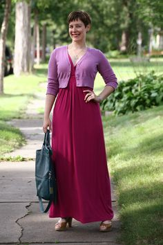 Already Pretty outfit featuring cropped purple cardigan, magenta maxi dress, Foley + Corinna Mid-city tote, espadrilles