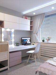 Small Room Design Bedroom, Study Room Design, Study Room Decor, Bedroom Closet Design, Bedroom Furniture Design, Room Ideas Bedroom, Home Room Design, Home Office Design, Home Interior Design