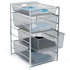 "The tight mesh and closed corners of the drawers prevent smaller items from falling through without the use of drawer liners or trays. The 21"" depth is perfect for most typical reach-in closets."