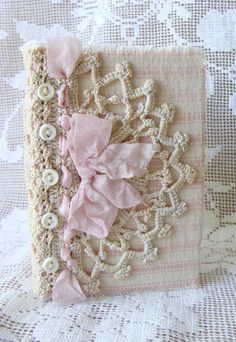 Shabby Vintage Chic Pink French Ticking Antique Lace Fabric Journal Diary…