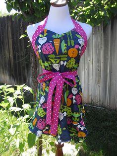 VEGGIE GIRL APRON  Women's Apron  full apron  one by SewSewGlam, $32.95