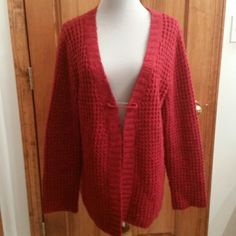 BEST IN SWEATERS HOST PICK!! Sweater- GORGEOUS RED XL Red Sweater by Christopher and Banks with decorative pin .Pre-loved  and cute as can be Christopher & Banks Sweaters