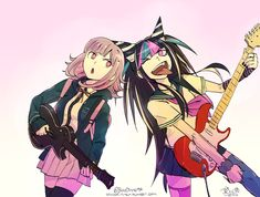 """bloodinner: """" Guitar battle!! \m/ *Through the Fire and Flames by DragonForce playing in the background* (I liked the idea in these tags and I felt like drawing Ibuki too!) """""""