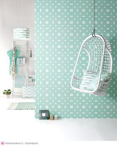 I like this creation. Especially the hanging chair! Interior Wallpaper, Wall Wallpaper, Girl Room, Girls Bedroom, Hanging Hammock Chair, Hanging Chairs, Lets Stay Home, Decoration Piece, Room Inspiration