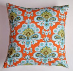 "Throw Pillow Cover - 16x16"" Amy Butler's French Wallpaper Orange - Toss Pillow, Accent Pillow, Decorative Cushion Cover, Pillowcase, Bedding..."