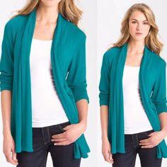 Aqua drapey cardigan Soft drapey cardigan in bright Aqua. Ruched three quarter sleeves. Longer length. Perfect for fall. Nordstrom Sweaters Cardigans