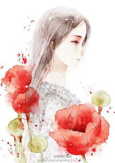 倦-清茗_原创,插画,水彩,每日一涂,人物,练习,小清新,妹子,花卉