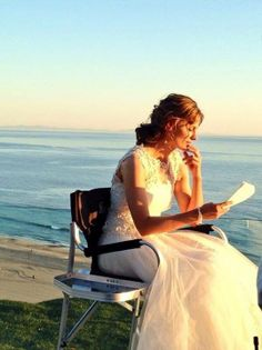 Stana reading her lines in the Hamptons