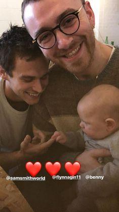 Sam Smith with boyfriend Brandon Flynn and manager/friend's baby - London - Feb 2018