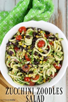 Zucchini Zoodle Salad Light and refreshing zoodle salad recipe – a loaded zucchini salad with fresh vegetables and the veggies are tossed in a simple but flavorful dressing. Quick and easy lunch or dinner meal made in less than 30 minutes. Spinach Salad Recipes, Best Salad Recipes, Chicken Salad Recipes, Real Food Recipes, Healthy Recipes, Zoodle Recipes, Spiralizer Recipes, Healthy Meals, Easy Recipes
