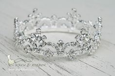 Newborn Baby Girl Tiara Crown Crystal Crown by wrenandribbon