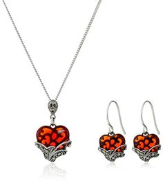 Sterling Silver Marcasite Red Glass Heart Earrings and Curb Chain Pendant Necklace Jewelry Set -- Visit the image link more details. (This is an affiliate link) Cute Jewelry, Gold Jewelry, Jewelry Necklaces, Women Jewelry, Christmas Earrings, Wedding Jewelry Sets, Red Glass, Marcasite, Chain Pendants