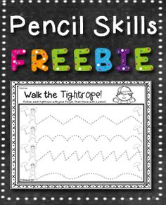 FREE RESOURCE:  Have your students practice the tripod pencil grip and pencil control by *walking the tightrope* in this circus themed free download.  Suitable for preschool.