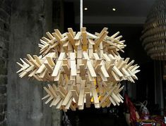 Clothespin chandelier. #DIY