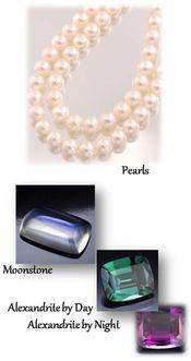 June Birthstones: Pearl, Alexandrite Night/Day and Moonstone http://www.facebook.com/WilsonsJewelers.OGWilson http://wilsonsjewelers.net/
