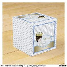 Blue and Gold Prince Baby Shower Favor Box