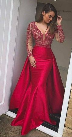 Buy Elegant Mermaid Long Red Long Sleeve Beading V Neck Lace Satin Backless Prom Dresses uk in uk.Shop our beautiful collection of unique and convertible long Prom dresses from ,offers long bridesmaid dresses for women online. Prom Dresses Long With Sleeves, Beaded Prom Dress, Prom Dresses With Sleeves, Backless Prom Dresses, Cheap Prom Dresses, Long Bridesmaid Dresses, Dress Long, Party Dresses, Long Prom Dresses Cheap