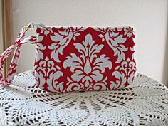 Wristlet Zipper Gadget Purse Pouch in Red and by Antiquebasketlady, $11.99