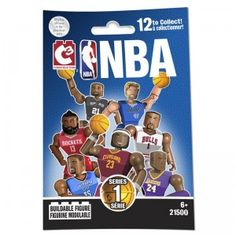 Series 1 includes buildable figures of NBA players LeBron James, Kevin Durant, Derrick Rose, Kevin Love, James Harden, Tim Duncan, Stephen Curry, Carmelo Anthony, Dirk Nowitzki, Ricky Rubio, and Chris Paul.