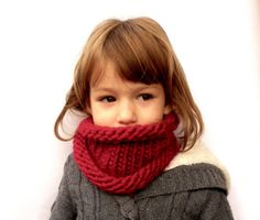 Kids Wool Cowl, Cherry red Neck warmer, Childs Neckwarmer, Toddlers Scarf, Hand Knit Cowl MADE TO ORDER on Etsy, $31.72