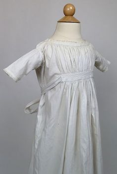 Lovely Antique White Cotton Child's Gown with Center Back Tie Closure | www.SarahElizabethGallery.com