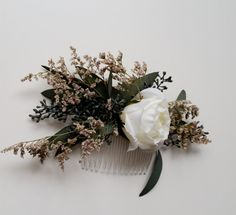 Dried flower comb Bridal Wedding hair by BudgetWeddingBouquet