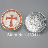 Wholesale KNIGHTS TEMPLAR ORANGE CROSS EDITION .999 SILVER  COLORIZED COIN - LIMITED,25 pcs/lot