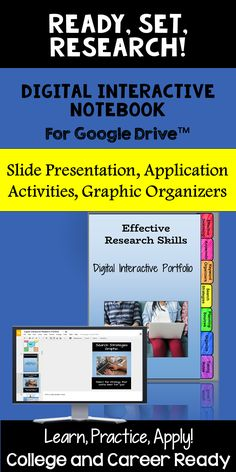 Knowing effective information-seeking skills are necessary to prepare your students for college, career, and life!  This teaching resource provides practical suggestions on how to access relevant results while conducting online searches and how to locate quality information in an effective, efficient, organized manner. Teach and reinforce with your students essential research skills with the Ready, Set, Research! Research Skills Digital Interactive Notebook!