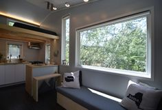 Hey everyone! Tiny house dwellers Samantha and Robert here! We are two young professionals with full time careers and we just designed and built our own 204 square foot tiny house on wheels; Best Modern House Design, Modern Shed, Modern Tiny House, Tiny House Design, Minimalist Window, Modern Minimalist House, Tiny House France, Tyni House, Tiny Home Cost