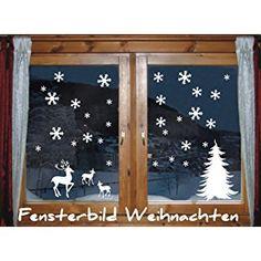 DAS-LABEL Fensterbild - wintermotiv mix - Schneeflocken | Tannenbaum | Hirsch | Rehkitz Weihnachten Fenstertattoo Wandtattoo Schneeflocken WEISS