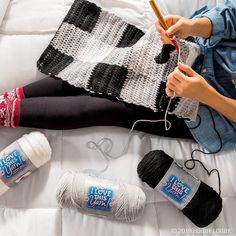 The best cure for the winter blues is cuddling up to a new crochet project! Grab your favorite skeins of I Love this Yarn! and whip up a warm winter scarf!
