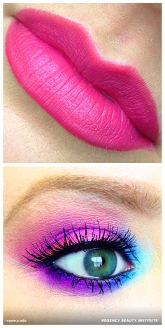 Pretty in pink and purple! Blend shades of blue and purple on your eyes and coat your lips with a pop of pink for a bright and bold look that'll dress up any outfit.