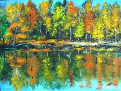 Colorful Trees aand lake (Acrylic)
