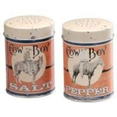 Cowboy Tin Salt & Pepper Shakers