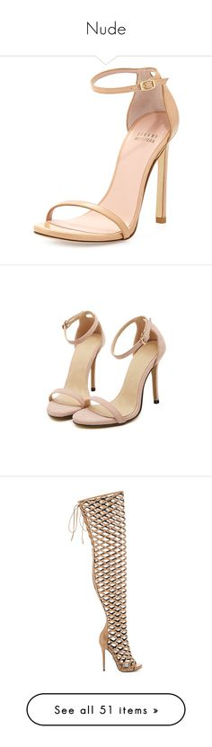 """""""Nude"""" by vanessaoliveira9444 on Polyvore featuring shoes, sandals, heels, sapatos, zapatos, adobe, leather sandals, heeled sandals, leather high heel sandals and ankle strap sandals"""